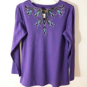 Bob Mackie Wearable Art Top Purple Size XS